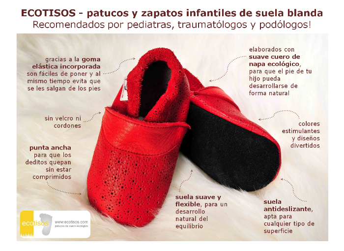 1f342ce3d ecotisos - patucos y zapatos infantiles de suela blanda de cuero ecologico  zapato de gateo regalo